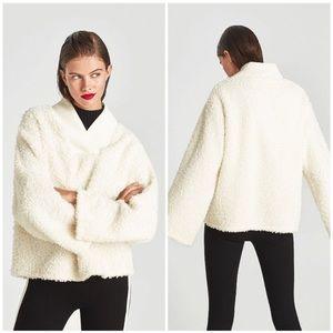 NWT Zara Trafaluc Sherpa pullover Cream